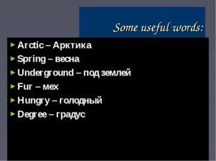 Some useful words: Arctic – Арктика Spring – весна Underground – под землей F