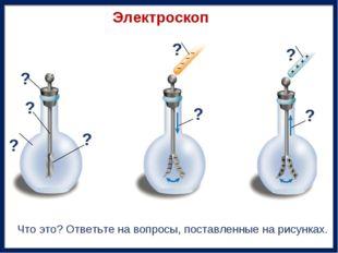 Электроскоп ? ? ? ? ? ? ? ? Что это? Ответьте на вопросы, поставленные на рис