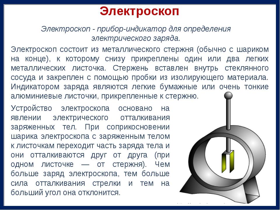 Электроскоп Устройство электроскопа основано на явлении электрического отталк...