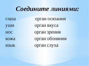 глаза орган осязания уши орган вкуса нос орган зрения кожа орган обоняния язы