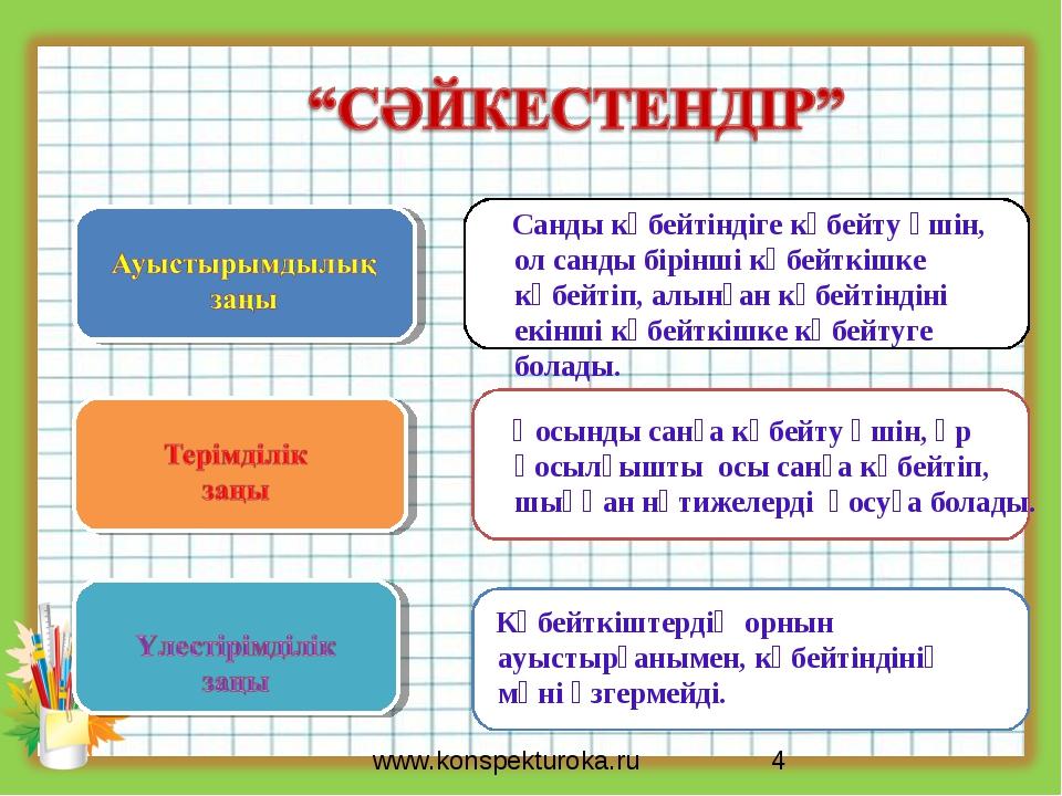 * www.konspekturoka.ru Көбейткіштердің орнын ауыстырғанымен, көбейтіндінің мә...