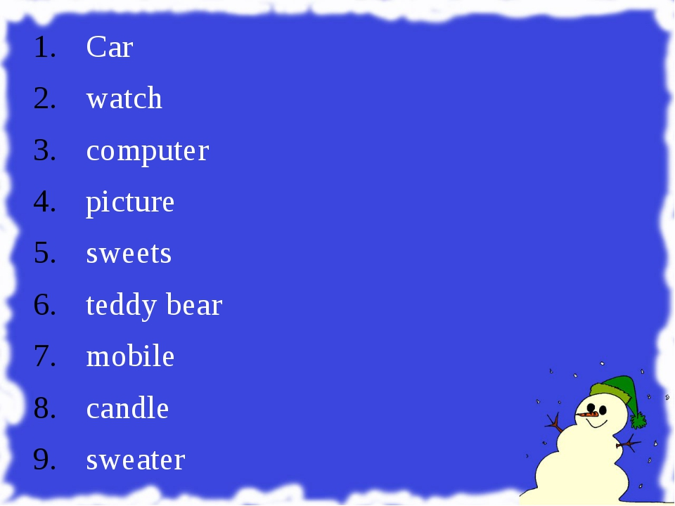 Car watch computer picture sweets teddy bear mobile candle sweater