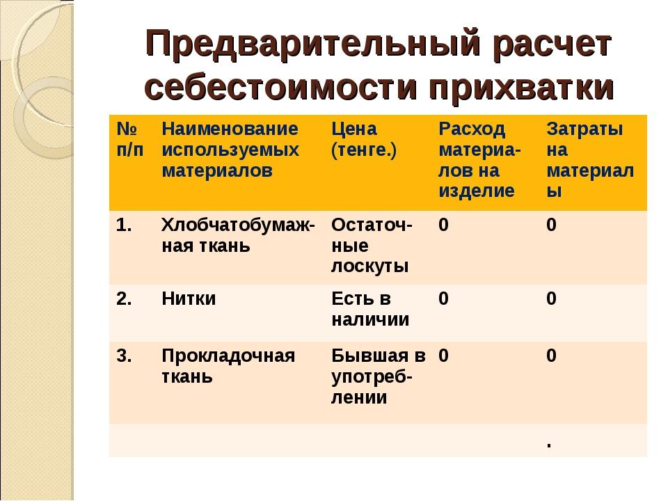 Предварительный расчет себестоимости прихватки № п/пНаименование используемы...
