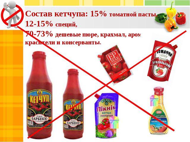 Состав кетчупа: 15% томатной пасты, 12-15% специй, 70-73% дешевые пюре, крахм...