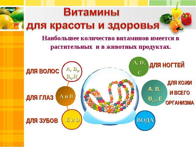 ДЛЯ ВОЛОС А, D, С Е и D А, В, В12, Е Наибольшее количество витаминов имеется...