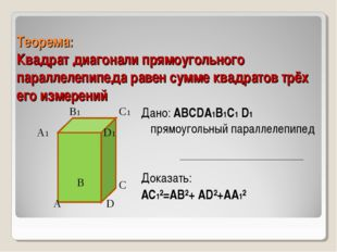 Теорема: Квадрат диагонали прямоугольного параллелепипеда равен сумме квадрат