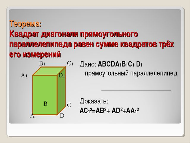 Теорема: Квадрат диагонали прямоугольного параллелепипеда равен сумме квадрат...