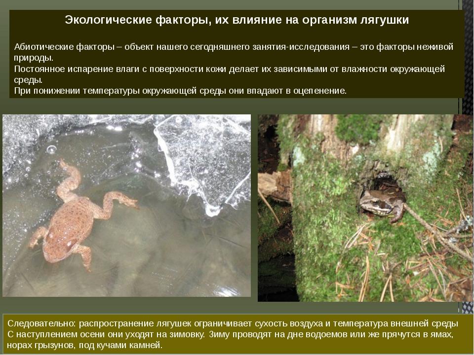 Следовательно: распространение лягушек ограничивает сухость воздуха и темпера...