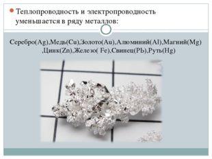 Теплопроводность и электропроводность уменьшается в ряду металлов: Серебро(Аg