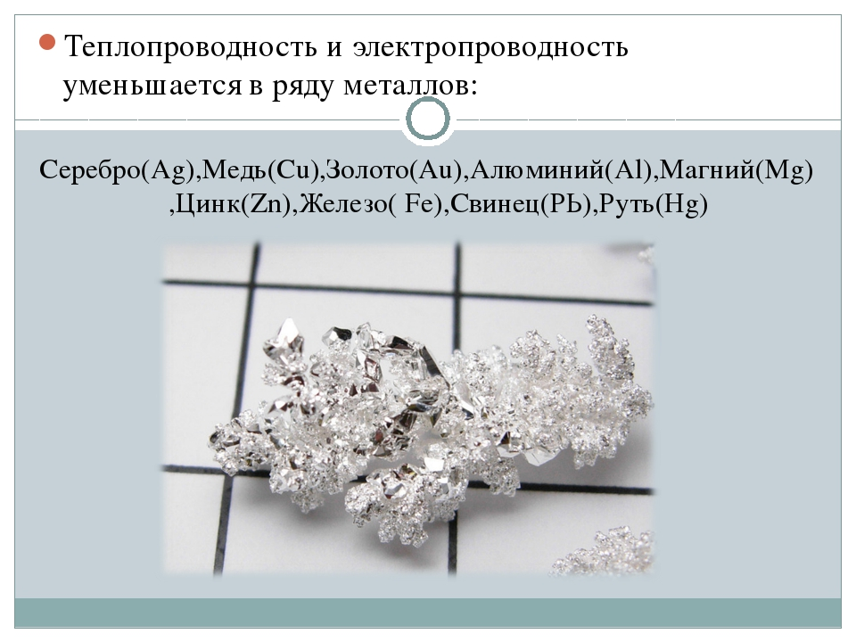 Теплопроводность и электропроводность уменьшается в ряду металлов: Серебро(Аg...