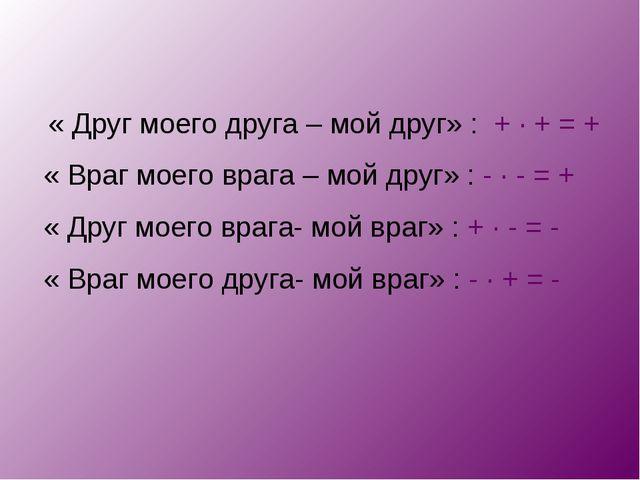 « Друг моего друга – мой друг» : + · + = + « Враг моего врага – мой друг» :...