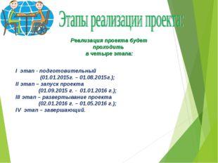 Реализация проекта будет проходить в четыре этапа: I этап - подготовительный