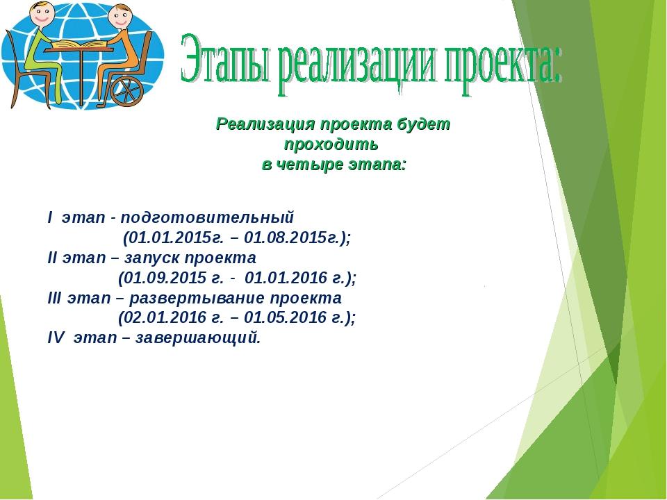 Реализация проекта будет проходить в четыре этапа: I этап - подготовительный...