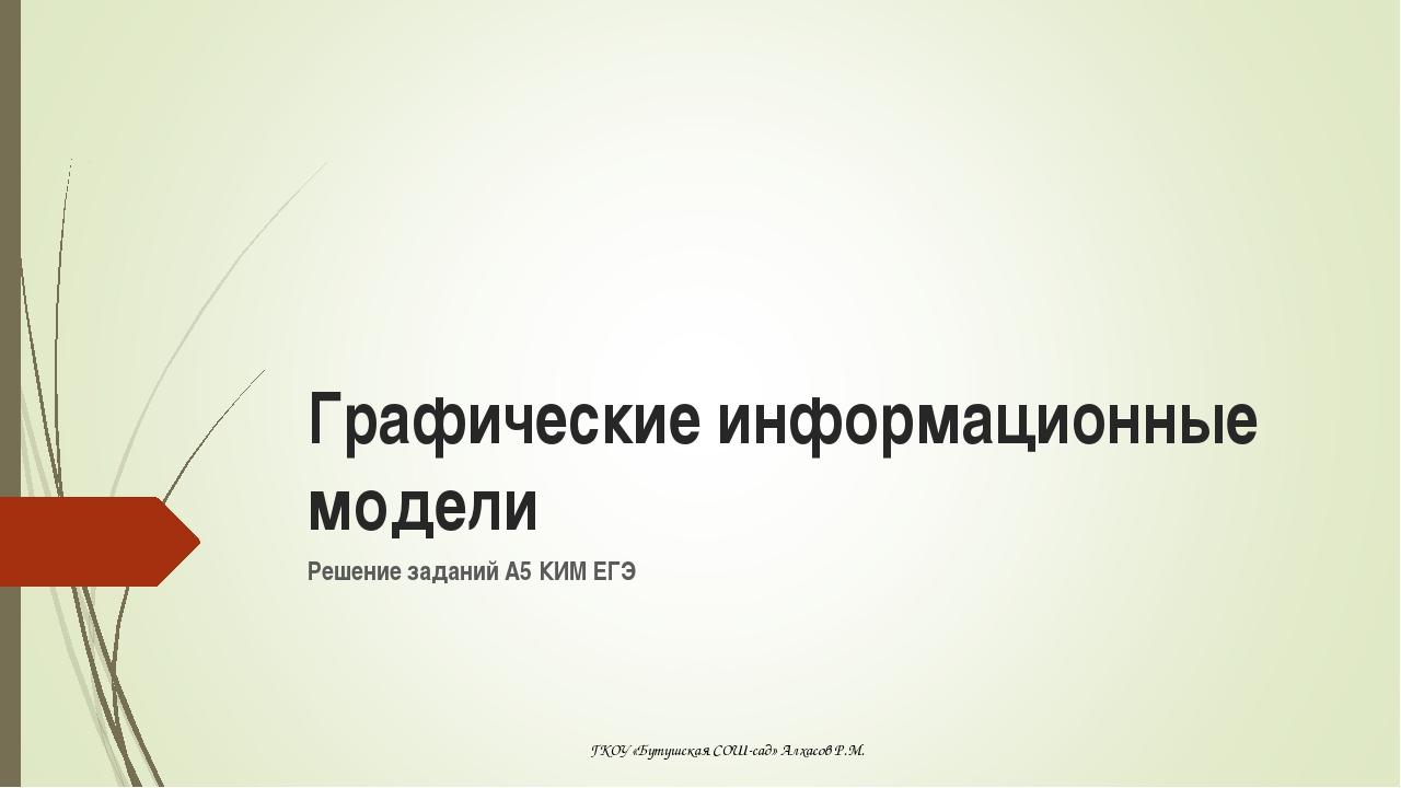 Решение заданий А5 КИМ ЕГЭ Графические информационные модели ГКОУ «Бутушская...