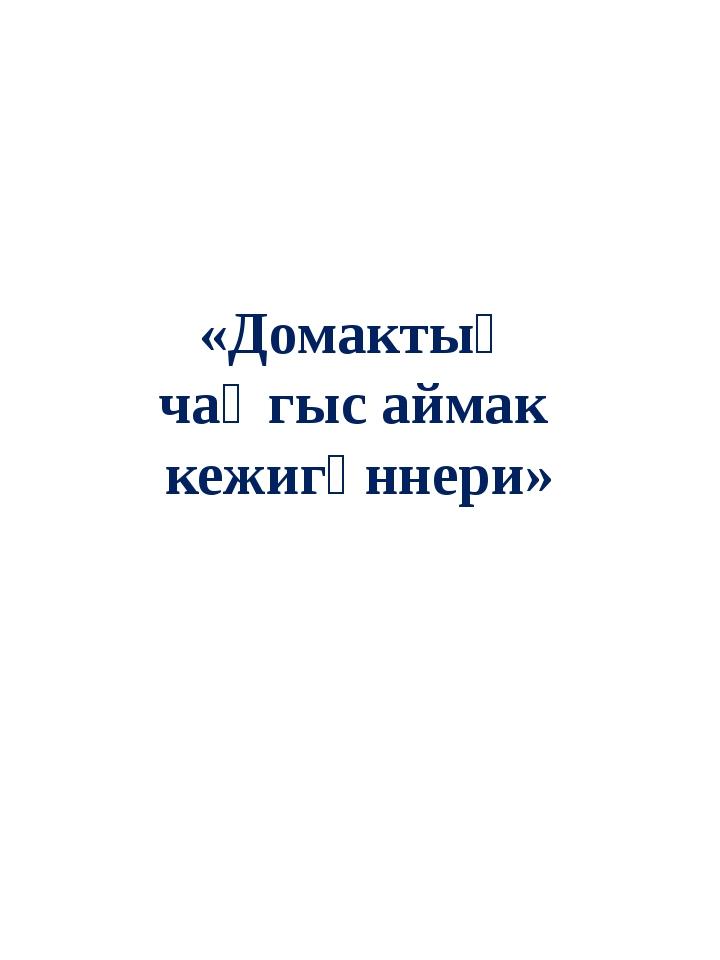 «Домактың чаңгыс аймак кежигүннери»