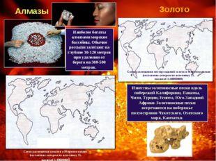 Алмазы Схема размещения алмазов в Мировом океане (составлена автором по источ