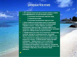 1. Все минеральные ресурсы океана можно условно классифицировать на три больш