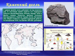 Каменный уголь С давних времён уголь добывают из-под морского дна. В настояще