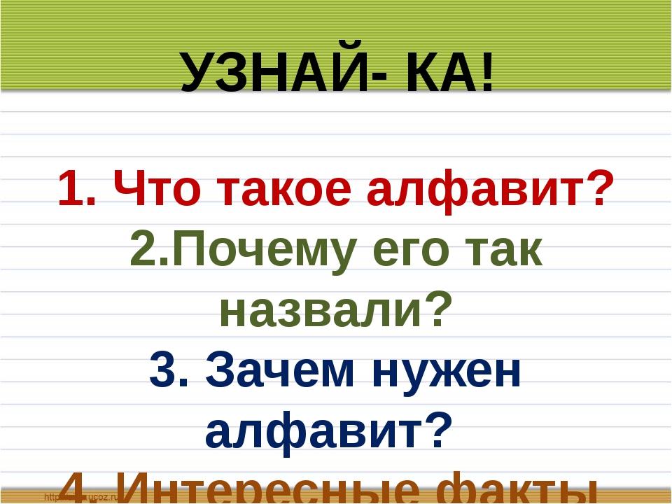 1. Что такое алфавит? 2.Почему его так назвали? 3. Зачем нужен алфавит? 4. И...