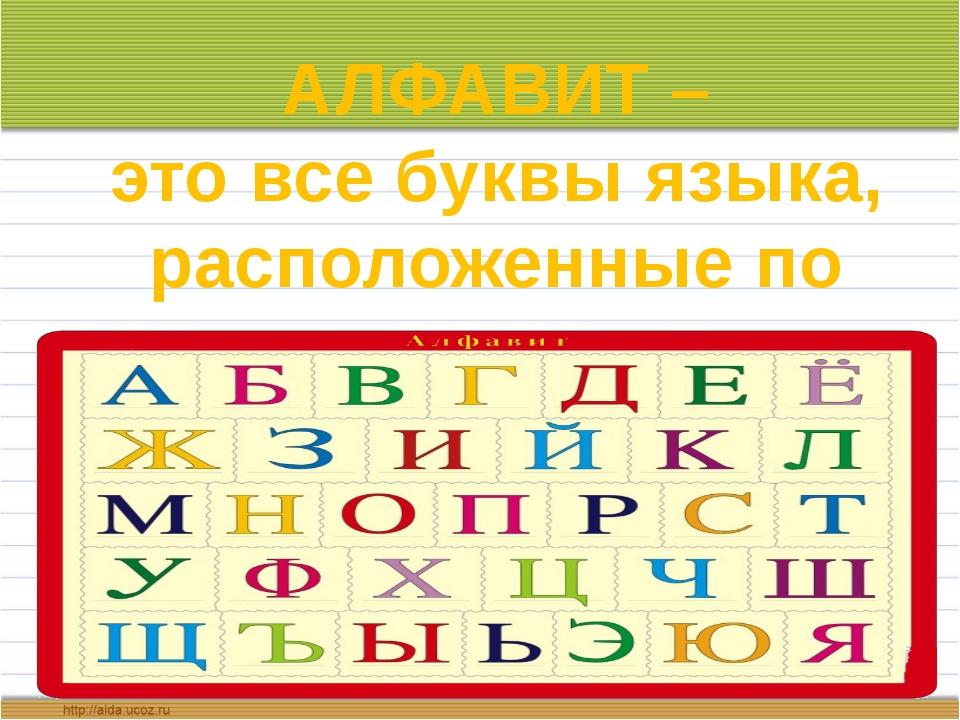 АЛФАВИТ – это все буквы языка, расположенные по порядку
