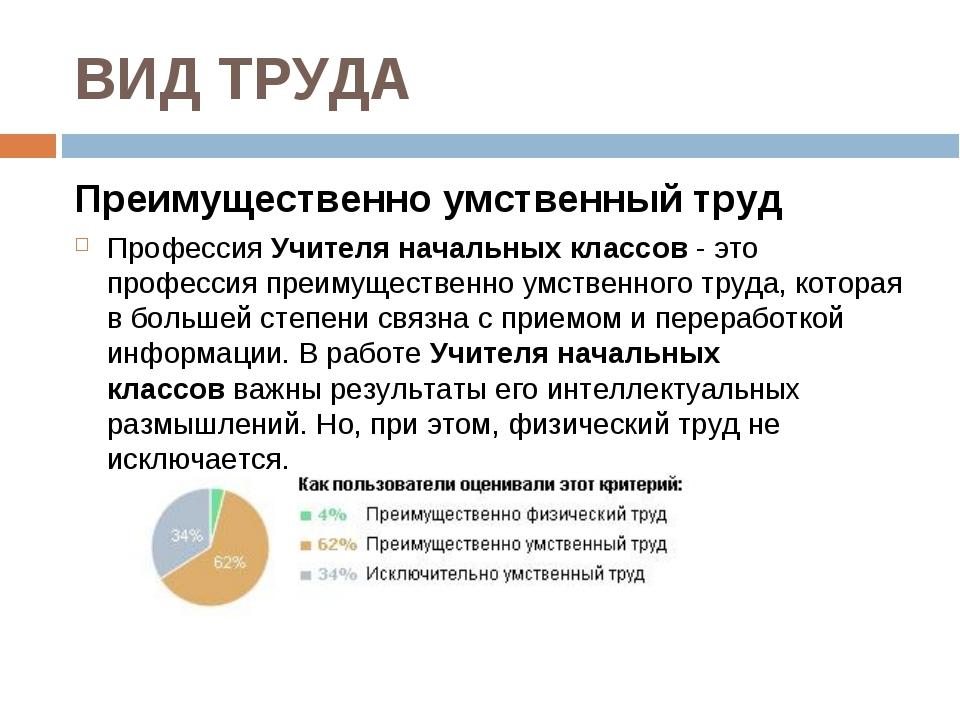 ВИД ТРУДА Преимущественно умственный труд ПрофессияУчителя начальных классов...