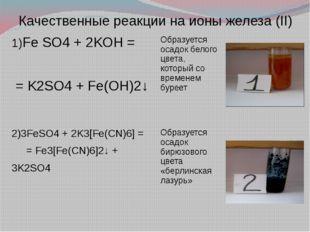 Качественные реакции на ионы железа (II) 1)Fe SO4+ 2KOH = =K2SO4+ Fe(OH)2↓