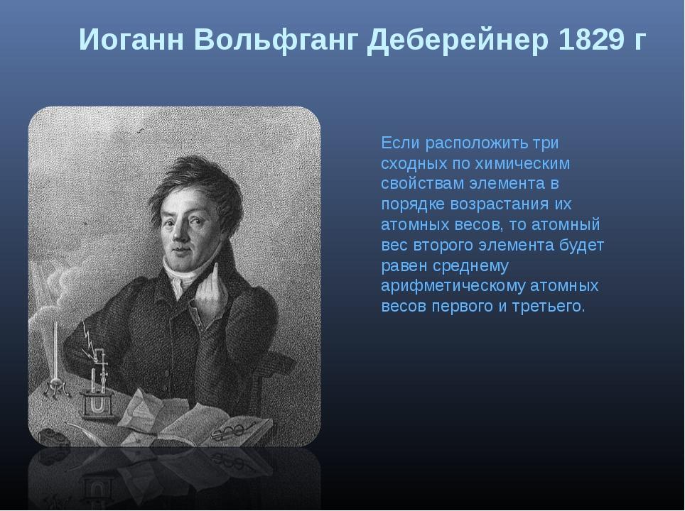 Иоганн Вольфганг Деберейнер 1829 г Если расположить три сходных по химическим...
