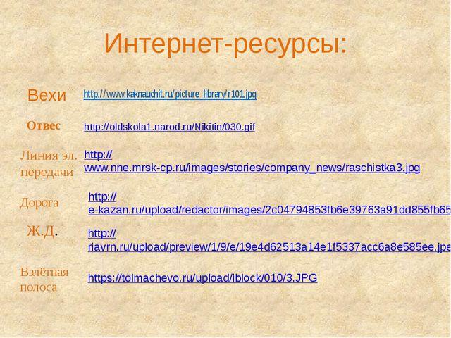 Интернет-ресурсы: Вехи http://oldskola1.narod.ru/Nikitin/030.gif Отвес http:/...