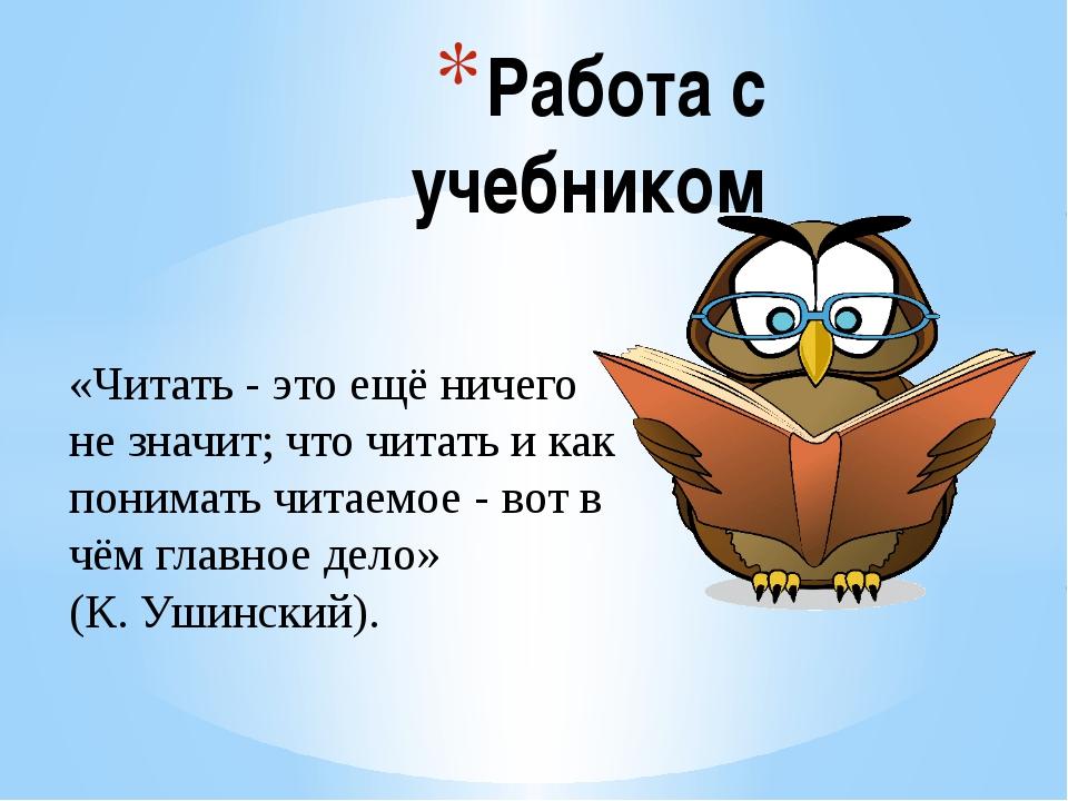 Работа с учебником «Читать - это ещё ничего не значит; что читать и как поним...
