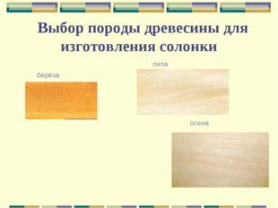 Выбор породы древесины для изготовления солонки берёза липа осина