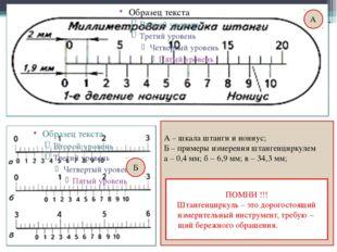 А Б А – шкала штанги и нониус; Б – примеры измерения штангенциркулем а – 0,4
