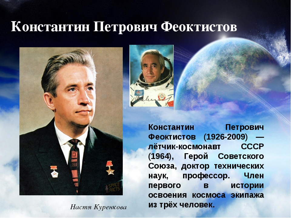 Константин Петрович Феоктистов Константин Петрович Феоктистов (1926-2009) — л...