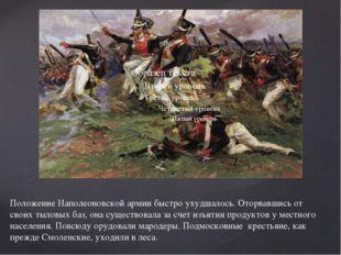 Положение Наполеоновской армии быстро ухудшалось. Оторвавшись от своих тыловы