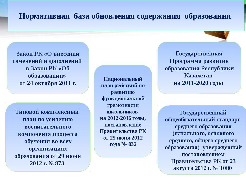 Нормативная база обновления содержания образования Закон РК «О внесении измен...