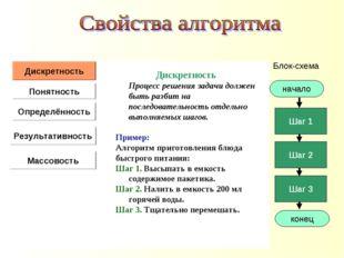 Дискретность Процесс решения задачи должен быть разбит на последовательн