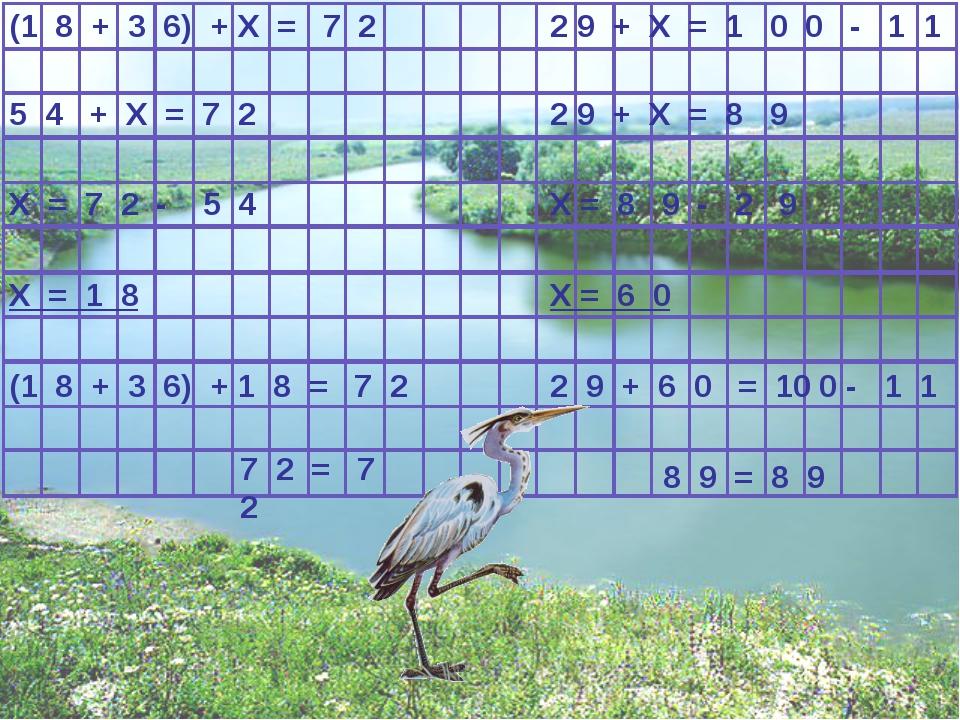 5 4 + X = 7 2 X = 7 2 - 5 4 (1 8 + 3 6) + X = 7 2 X = 1 8 (1 8 + 3 6) + 1 8 =...