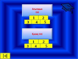 Қазақ тілі Ағылшын тілі 1 2 3 4 5 1 2 3 4 5