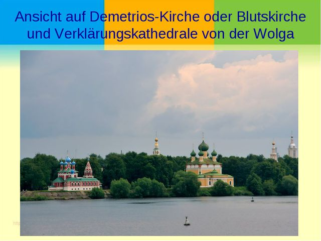 Ansicht auf Demetrios-Kirche oder Blutskirche und Verklärungskathedrale von d...