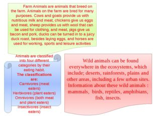 Farm Animals are animals that breed on the farm. Animals on the farm are bre