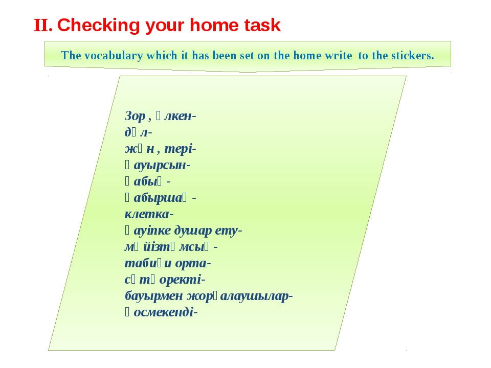 II. Checking your home task Зор , үлкен- дәл- жүн , тері- қауырсын- қабық- қа...