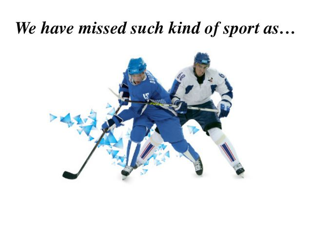 We have missed such kind of sport as… Ice hockey