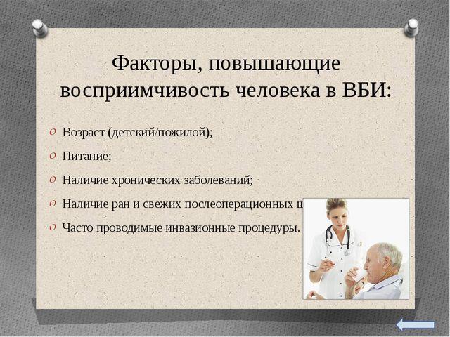 Факторы, повышающие восприимчивость человека в ВБИ: Возраст (детский/пожилой...