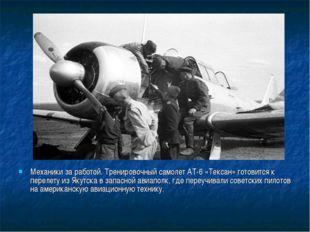 Механики за работой. Тренировочный самолет АТ-6 «Тексан» готовится к перелету