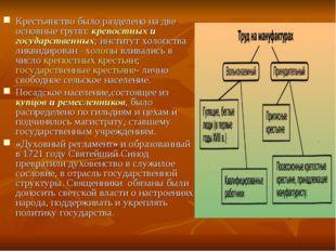 Крестьянство было разделено на две основные групп: крепостных и государственн