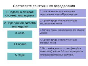 Соотнесите понятия и их определения 1.Подсечно-огневая система земледелия 1.