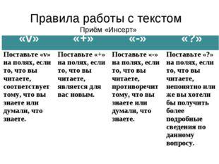 Правила работы с текстом Приём «Инсерт» «v» «+» «-» «?» Поставьте «v» на п
