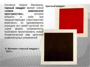 К. Малевич «Черный квадрат» 1915 г. Согласно теории Малевича, черный квадрат