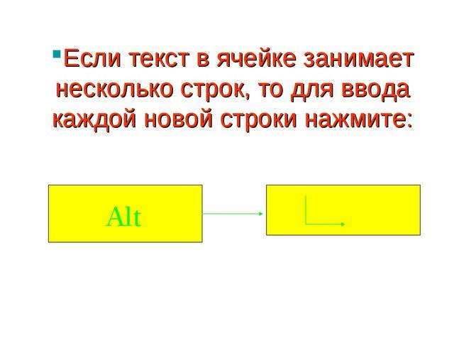 Если текст в ячейке занимает несколько строк, то для ввода каждой новой строк...