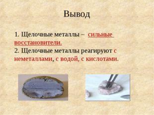 Вывод 1. Щелочные металлы – сильные восстановители. 2. Щелочные металлы реаг