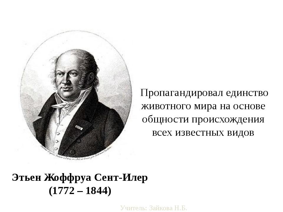 Этьен Жоффруа Сент-Илер (1772 – 1844) Пропагандировал единство животного мира...